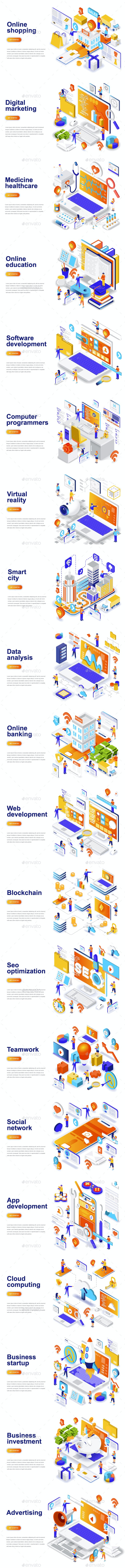 Landing Page Templates - Web Elements Vectors