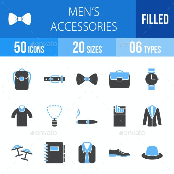 Men's Accessories Blue & Black Icons