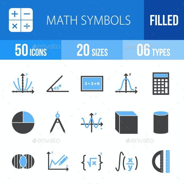 Math Symbols Blue & Black Icons