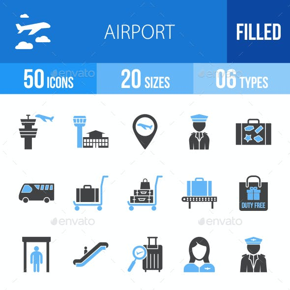 Airport Blue & Black Icons