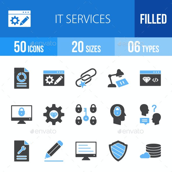 IT Services Blue & Black Icons