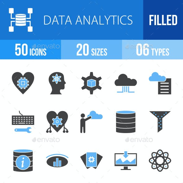 Data Analytics Blue & Black Icons