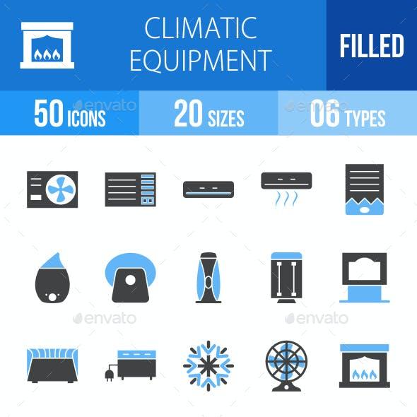 Climatic Equipment Blue & Black Icons