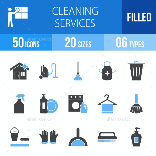 Cleaning Services Blue & Black Icons