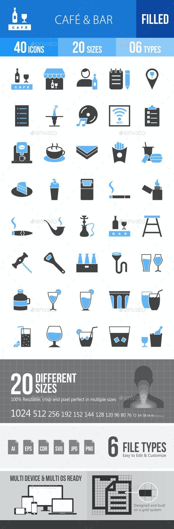 Cafe & Bar Blue & Black Icons - Icons
