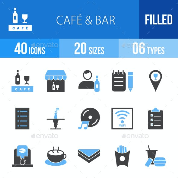 Cafe & Bar Blue & Black Icons