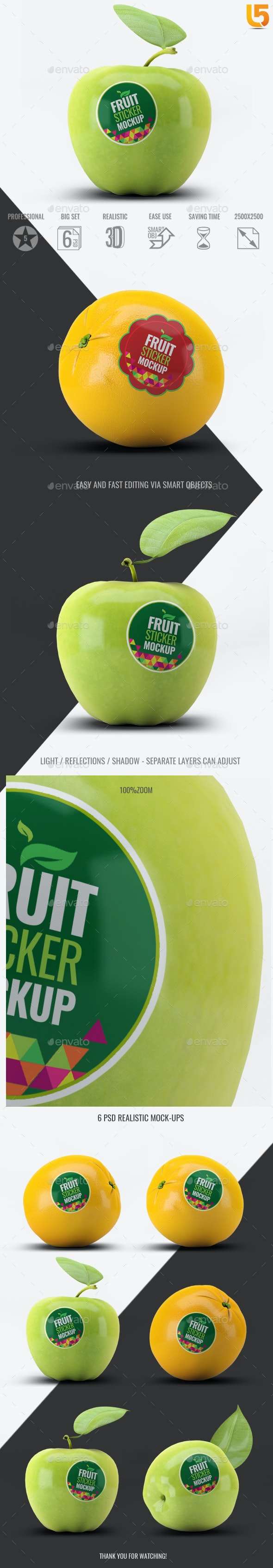 Fruit Sticker Mock-Up - Food and Drink Packaging