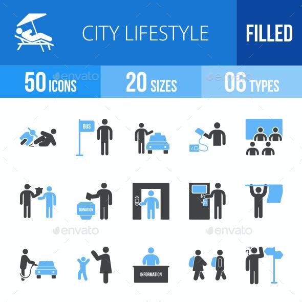 City Lifestyle Blue & Black Icons