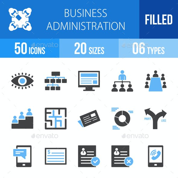Business Administration Blue & Black Icons