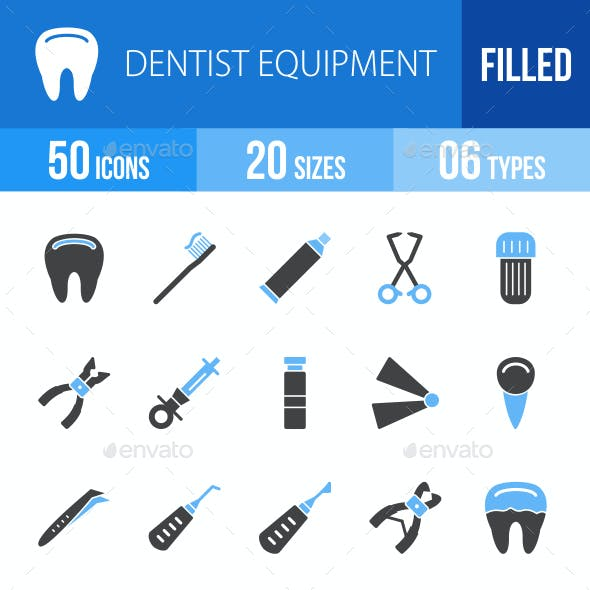 Dentist Equipment Blue & Black Icons