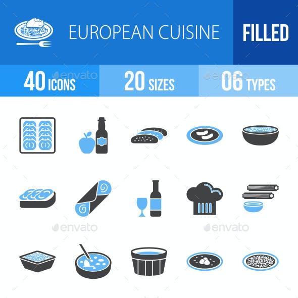 European Cuisine Blue & Black Icons