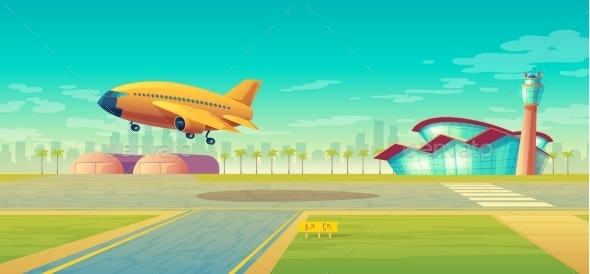 Vector Landing Strip for Airplanes Plane Takeoff - Travel Conceptual