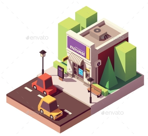 Vector Isometric Money Exchange - Buildings Objects