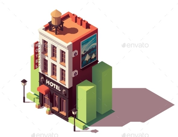 Vector Isometric Hotel Building - Buildings Objects
