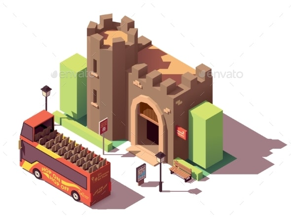 Vector Isometric Tourist Attractions - Buildings Objects