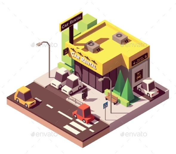 Vector Isometric Car Rental Office - Buildings Objects