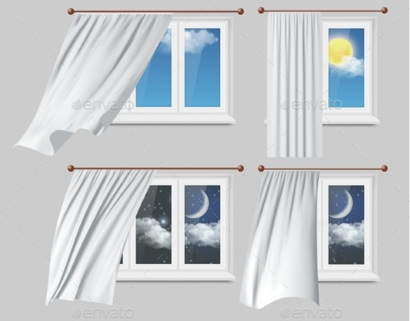 Windows with White Curtains Vector Illustration - Buildings Objects