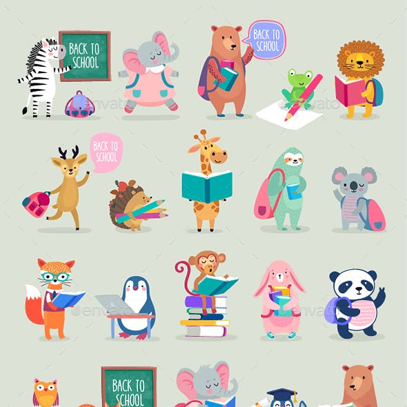 Back to School Animals Hand Drawn Style