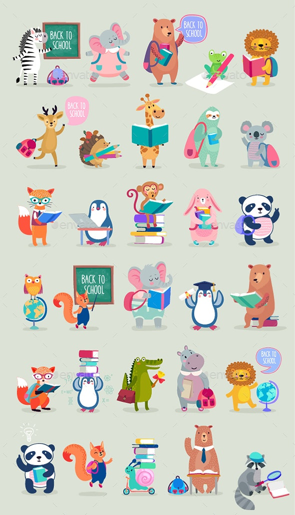 Back to School Animals Hand Drawn Style - Animals Characters