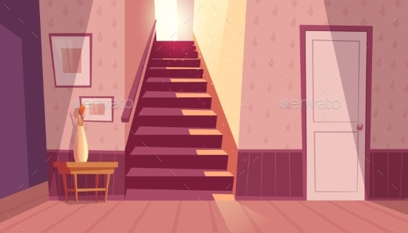 Vector Interior with Staircase - Buildings Objects