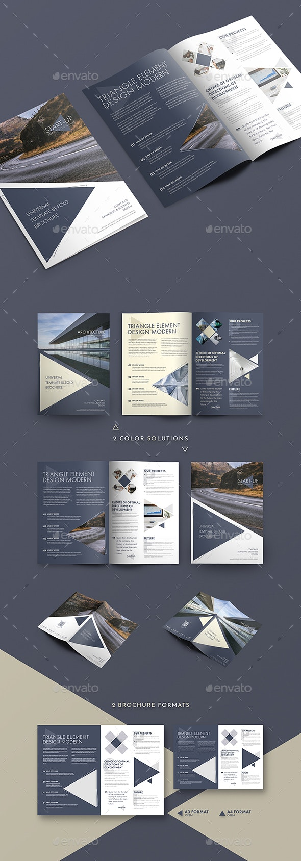 Modern Design Bi-Fold Brochure With Triangular Elements - Brochures Print Templates