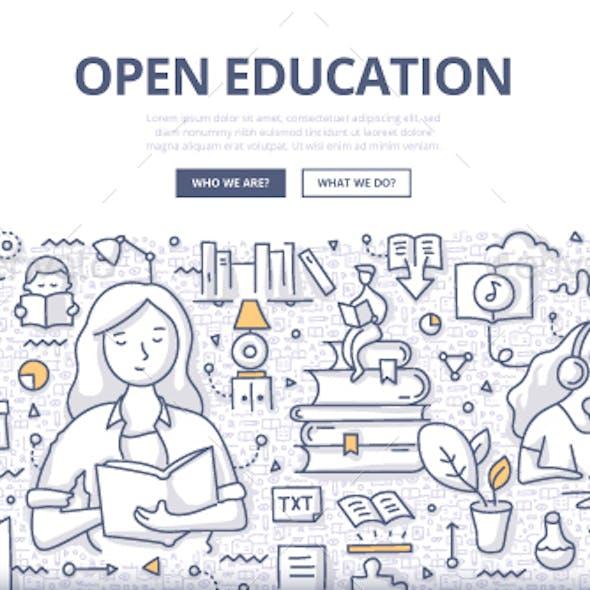 Open Education Doodle Concept