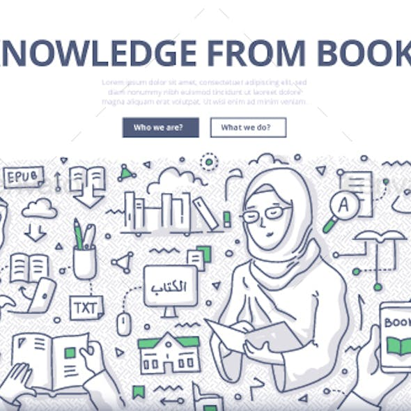 Knowledge from Books Doodle Concept