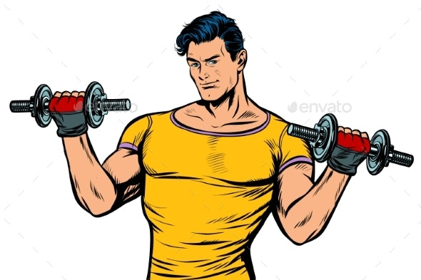 Man with Dumbbells Isolate on White Background - Sports/Activity Conceptual