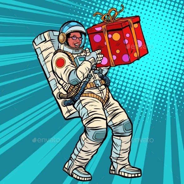 Astronaut Birthday with a Gift - People Characters