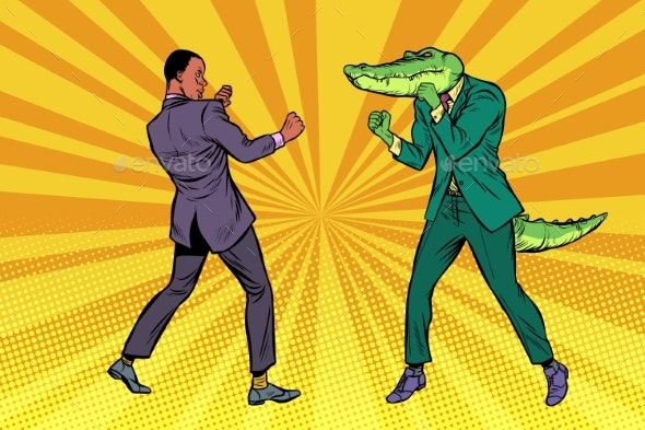 Businessman Boxing with a Crocodile - People Characters