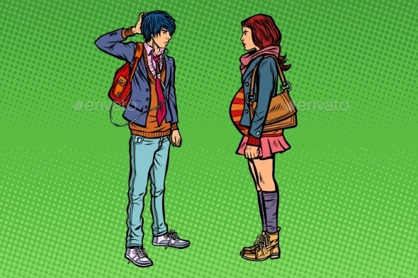 Confused Young Man and Pregnant Girl - People Characters
