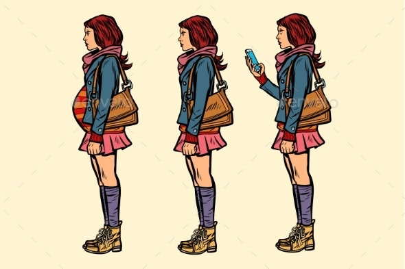 Set of Teen Girls Pregnant and with Phone - People Characters