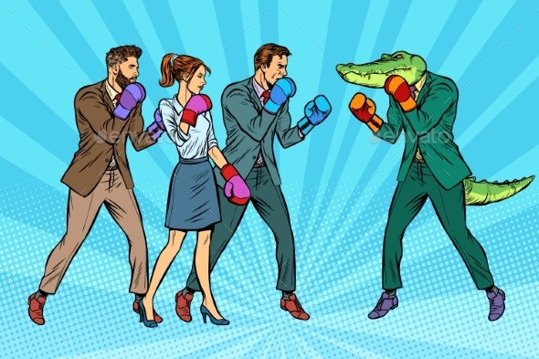 People Boxing a Reptilian Crocodile - Sports/Activity Conceptual