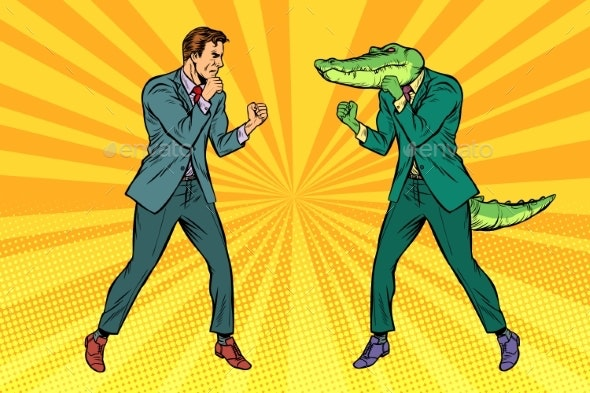 Man Boxing Fights with Crocodile Reptiloid - Sports/Activity Conceptual