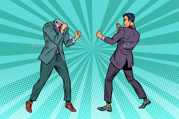 Two Men Businessman Fighting - People Characters