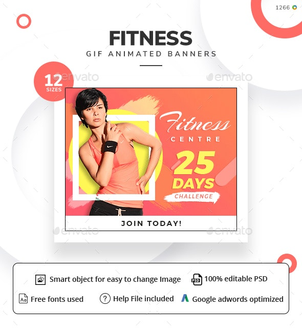 Fitness Animated GIF Web Banner Set - Banners & Ads Web Elements