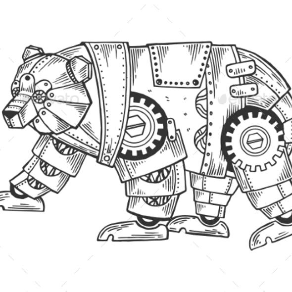 Mechanical Bear Animal Engraving Vector