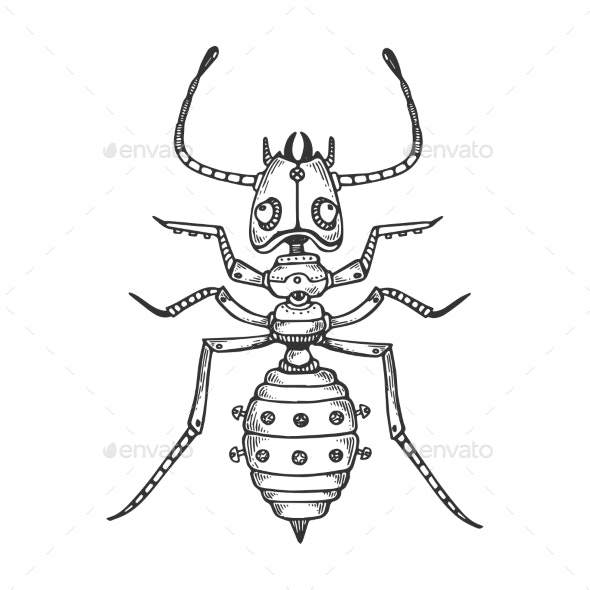 Mechanical Ant Animal Engraving Vector - Miscellaneous Vectors