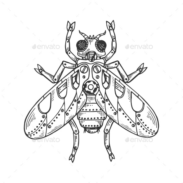 Mechanical Fly Animal Engraving Vector