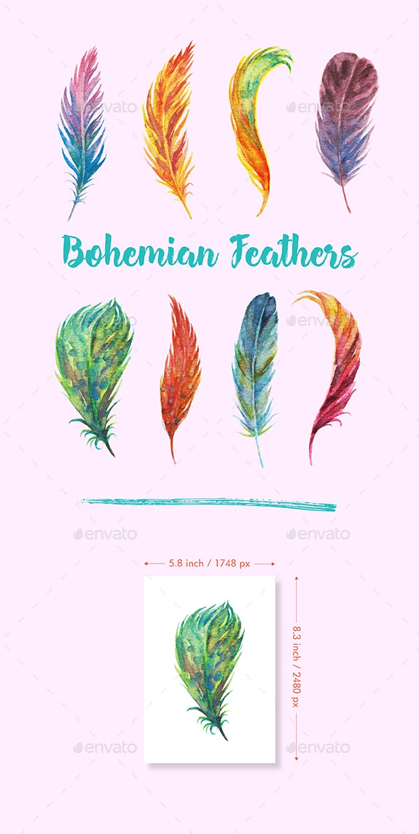 Watercolor Bohemian Feathers - Illustrations Graphics