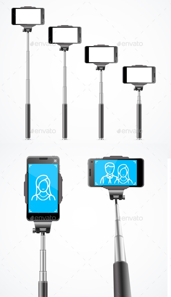 Realistic Detailed Monopods with Phones for Selfie - Man-made Objects Objects