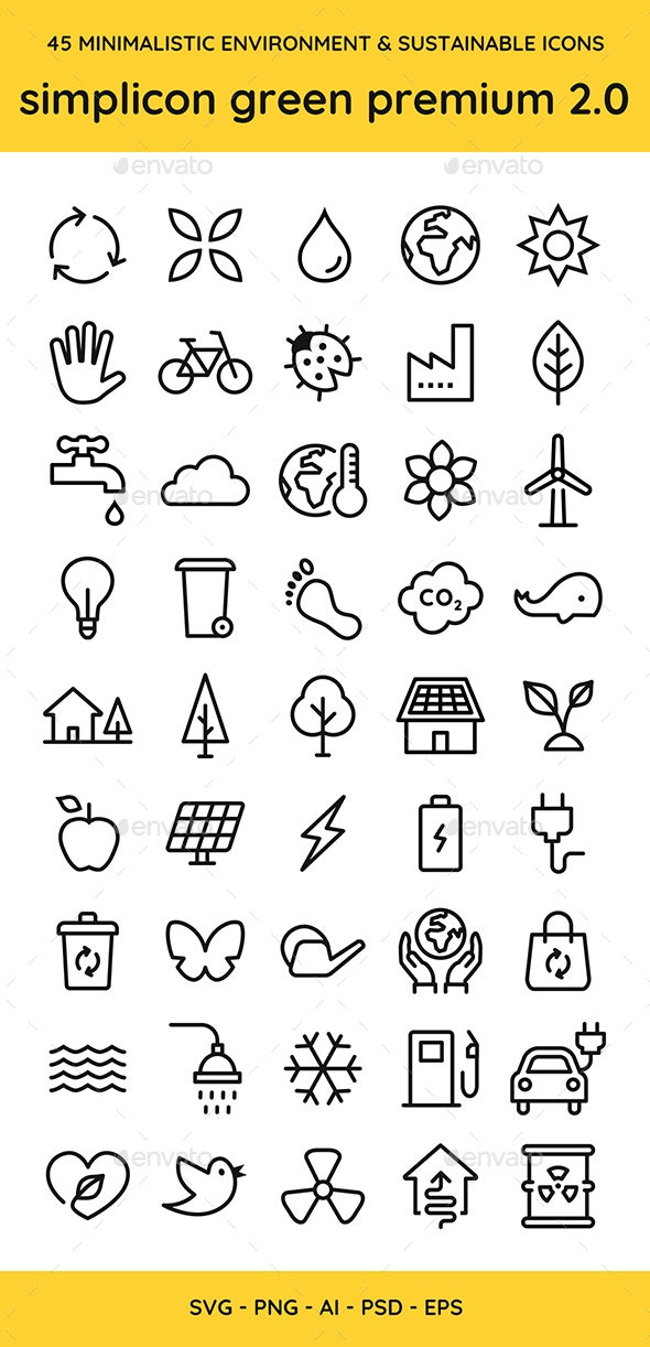 45 Environment & Sustainable Vector Icons - Miscellaneous Icons
