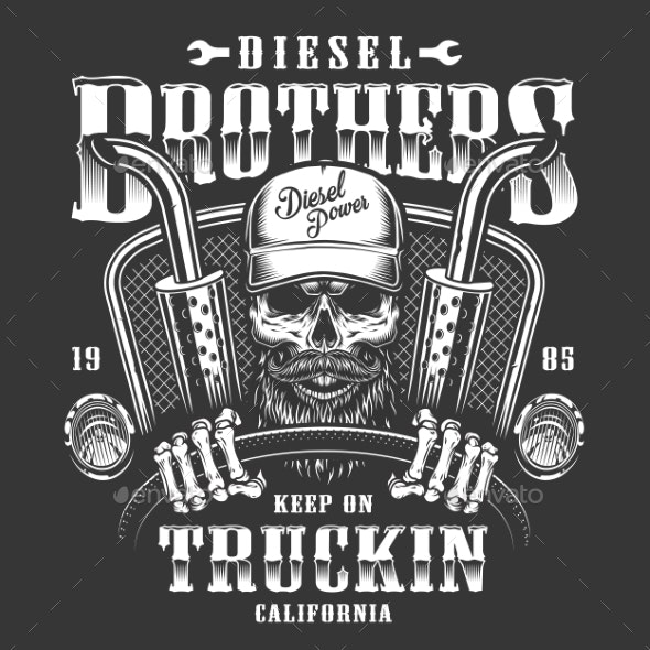 Skull Trucker Print - Man-made Objects Objects