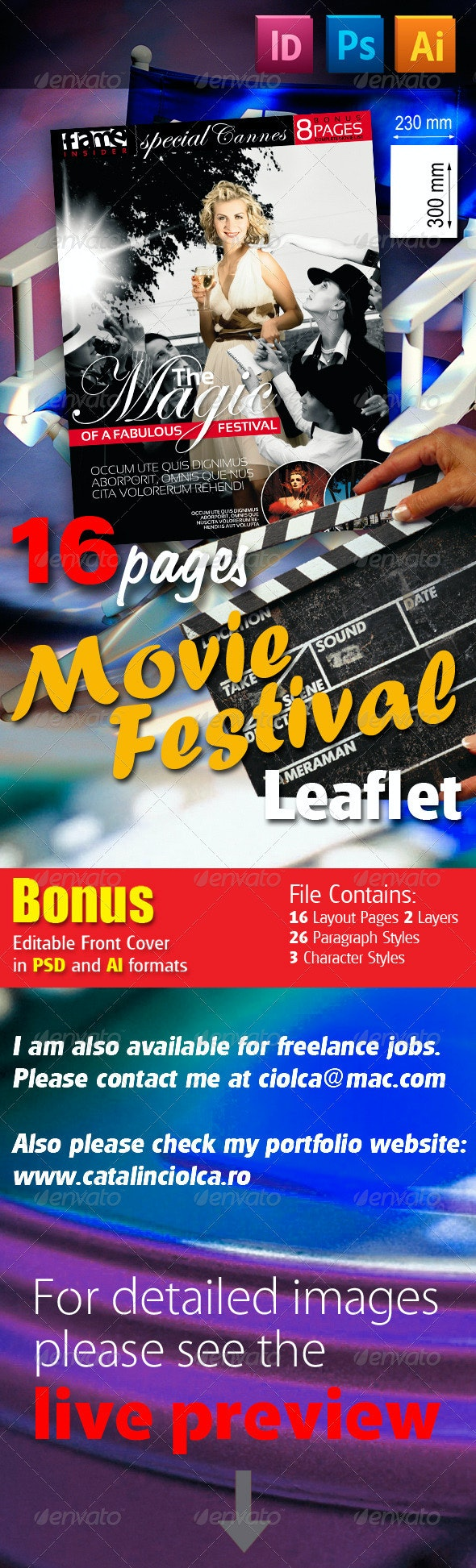 16 Pages Movie Festival Leaflet - Informational Brochures