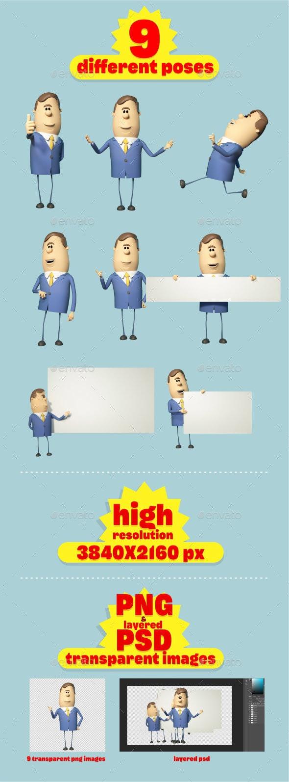 Cartoon Businessman in Posed - Characters 3D Renders