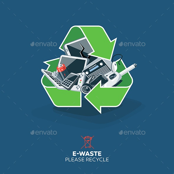 E-Waste in Recycling Sign Symbol - Miscellaneous Conceptual