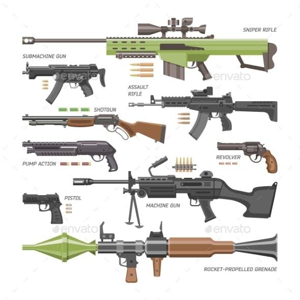 Gun Vector Military Weapon or Army Handgun and War