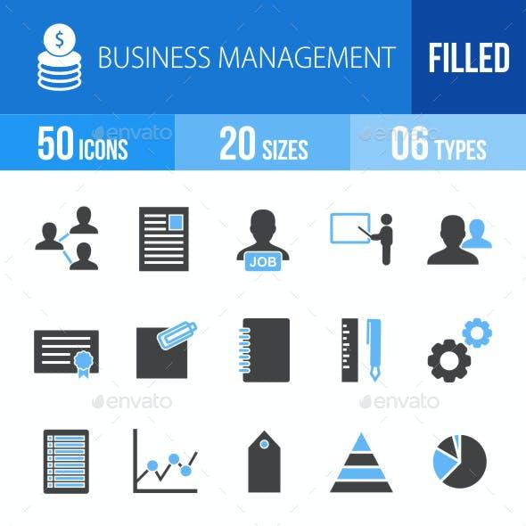 Business Management Blue & Black Icons