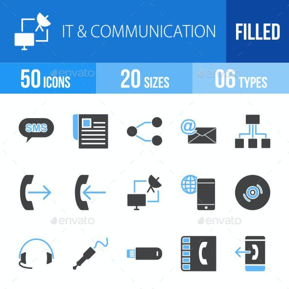 IT & Communication Blue & Black Icons