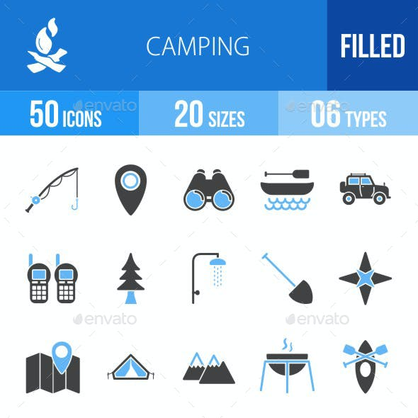 Camping Blue & Black Icons